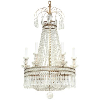 French Crystal and Bronze Six-Light Chandelier For Sale