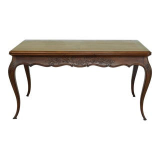 French Louis XV Style Oak & Walnut Refactory Dining Room Table For Sale