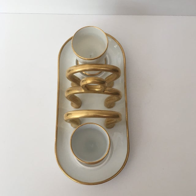 French Vintage Gold & White China Toast Rack & Egg Cups - Set of 3 For Sale - Image 3 of 8