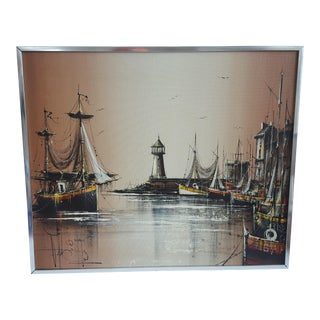 Mid Century Modern Ships in the Harbor Oil Painting Signed