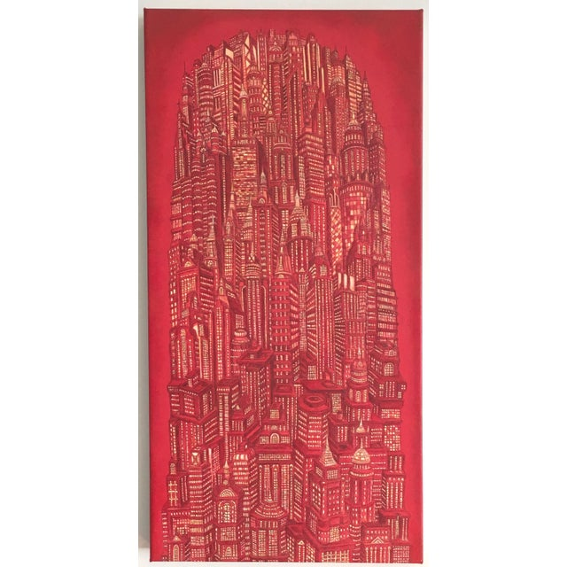 """Alexis Duque """"Red Tower"""" NYC Buildings Reimagined Metropolis Acrylic Painting For Sale In New York - Image 6 of 6"""