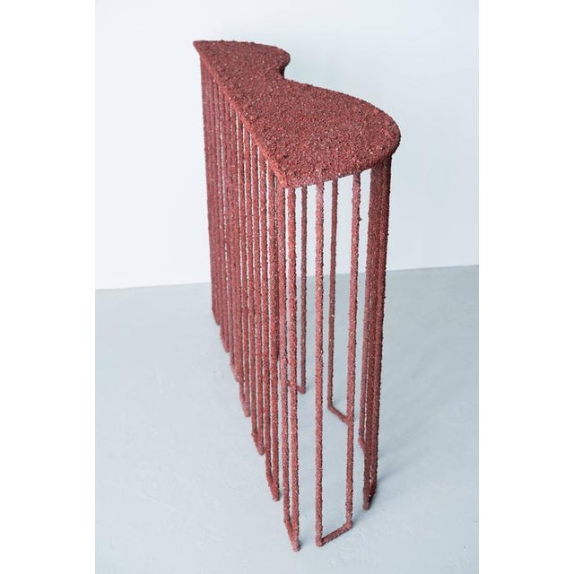 Stone Hand Made Console of Crushed Red Jasper From India, by Samuel Amoia For Sale - Image 7 of 10