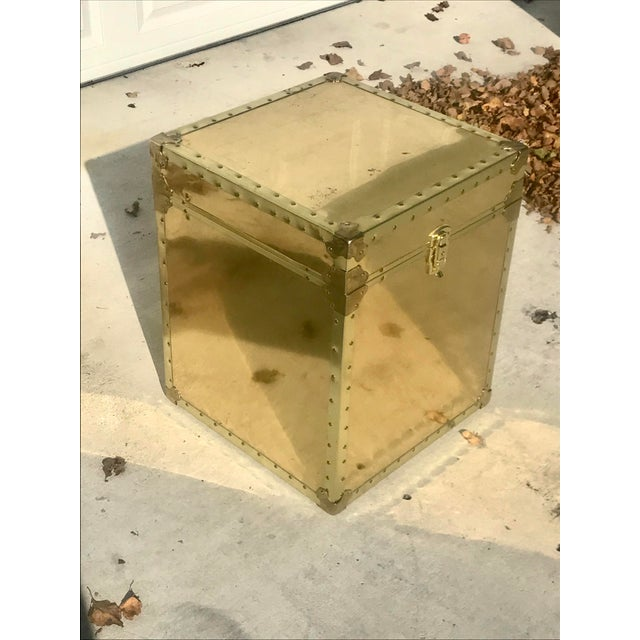Boho Chic 1960s Hollywood Regency Small Gold Metal Trunk For Sale - Image 3 of 13