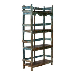 Antique Chinese Blue Green Painted Four Shelf Etagere