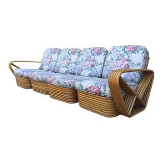 Square Pretzel Rattan Sofa Style of Paul Frankl For Sale