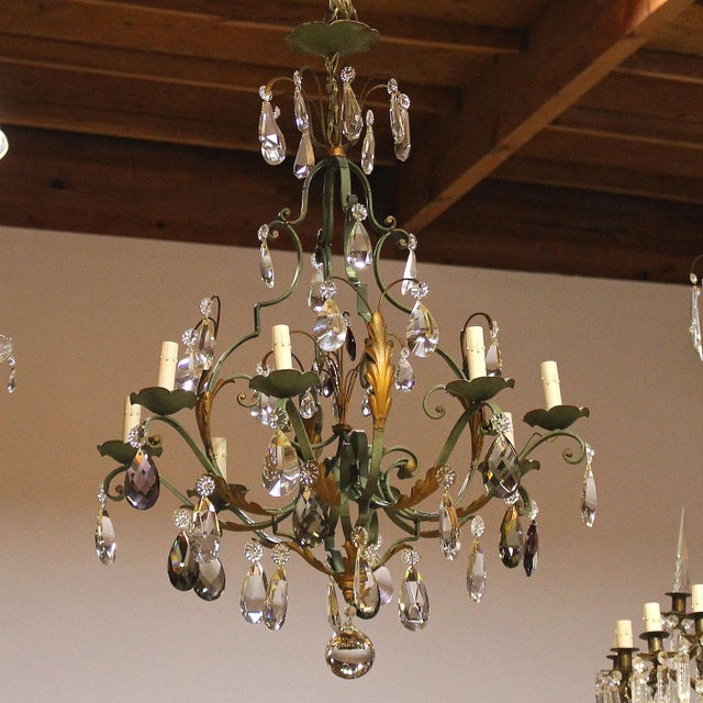 Vintage French 8-Light Painted Iron and Crystal Chandelier For Sale - Image 11 of 12