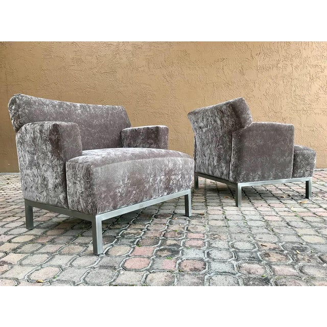 Chrome Krug Furniture Modern Carlyle Lounge Chairs - a Pair For Sale - Image 7 of 7