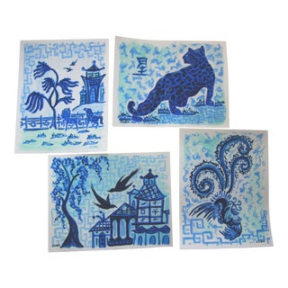 Chinoiserie Blue Landscape and Animals Paintings - Set of 4 For Sale