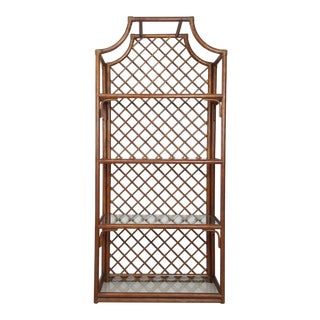 Vintage Mid Century Rattan Pagoda Top Etagere For Sale