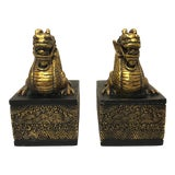 Image of Chinoiserie Golden Dragon Bookends - a Pair For Sale