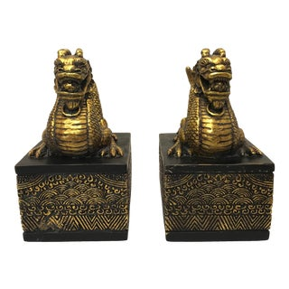 Chinoiserie Golden Dragon Bookends - a Pair For Sale