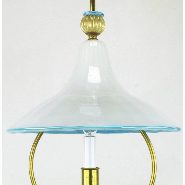 Glass Studio, Murano Italian Murano Blue and White Cased Glass Hooded Pendant Chandelier For Sale - Image 4 of 7