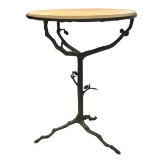 Pair of French Mid-Century Modern Bronze and Stone Side Tables For Sale