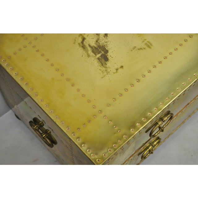Gold Vintage Sarreid Two Drawer Brass Studded Campaign Style Low Chest of Drawers For Sale - Image 8 of 13