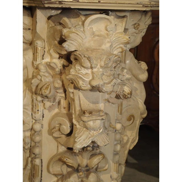 Antique Painted Napoleon III Wall Console Pedestal, Circa 1860 For Sale - Image 9 of 13