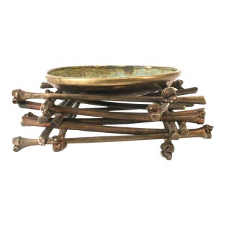 "1990s Vintage ""Ritual Bowl on Bamboo Pyre"" Brass Sculpture, by Robert Lee Morris For Sale"