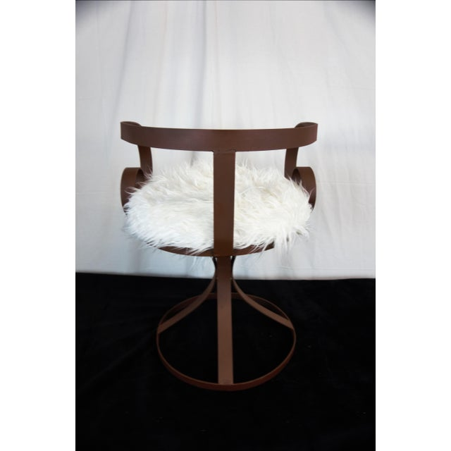 Metal Sultana Style Metal & Faux Fur Chairs - A Pair For Sale - Image 7 of 10