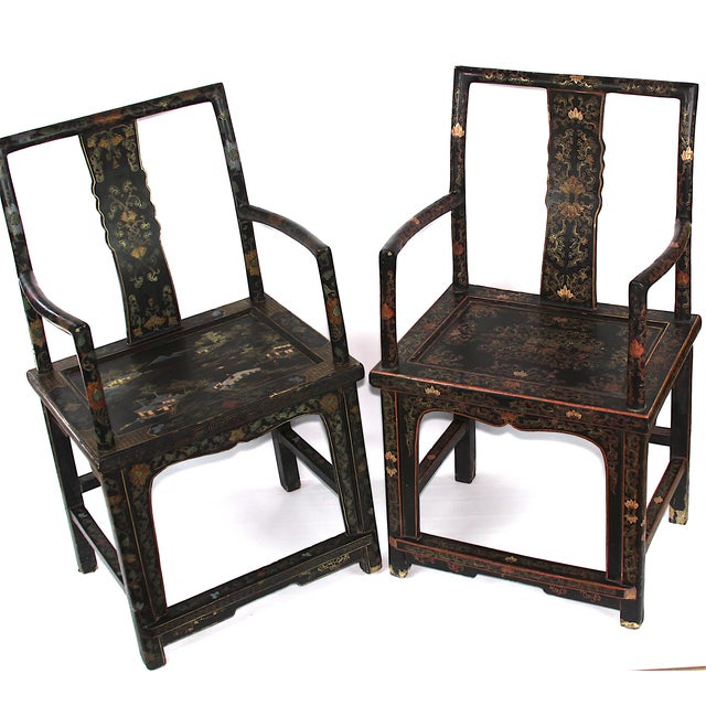 Antique Chinese Lacquered Armchairs - A Pair - Image 7 of 10