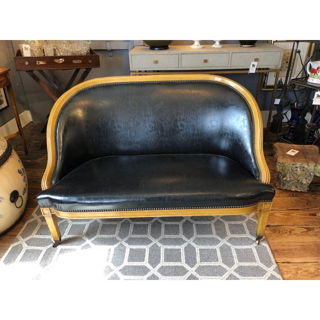 Black Pair of English Library Fruitwood and Faux Black Leather Loveseats For Sale - Image 8 of 13