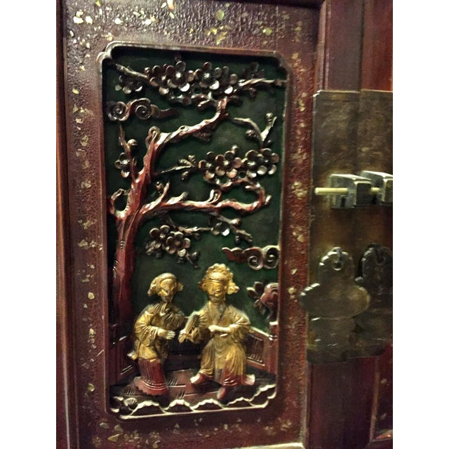 Antique Chinese Carved Gilded With Mother of Pearl Cabinet For Sale - Image 4 of 12