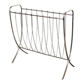 Mid-Century Modernist Nickel Ribbed Magazine Stand, American, circa 1960 For Sale