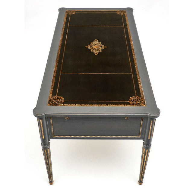 Late 19th Century Antique French Louis XVI Style Gray Painted Desk For Sale - Image 5 of 13