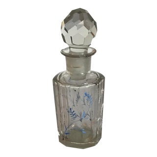 Vintage Glass Bottle With a Faceted Stopper For Sale