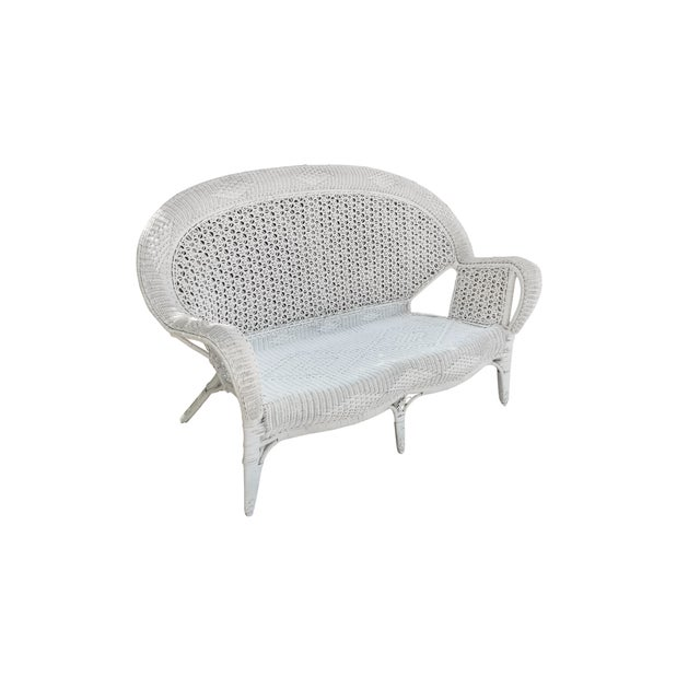 White Wicker Settee For Sale In Tampa - Image 6 of 9