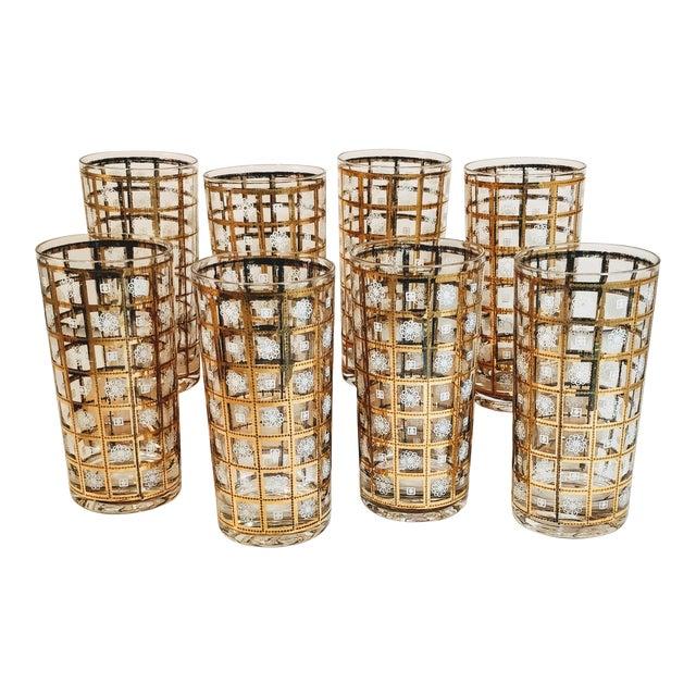Vintage Gold Highballs Glasses Barware Bar Geometric Floral White - Set 8 For Sale
