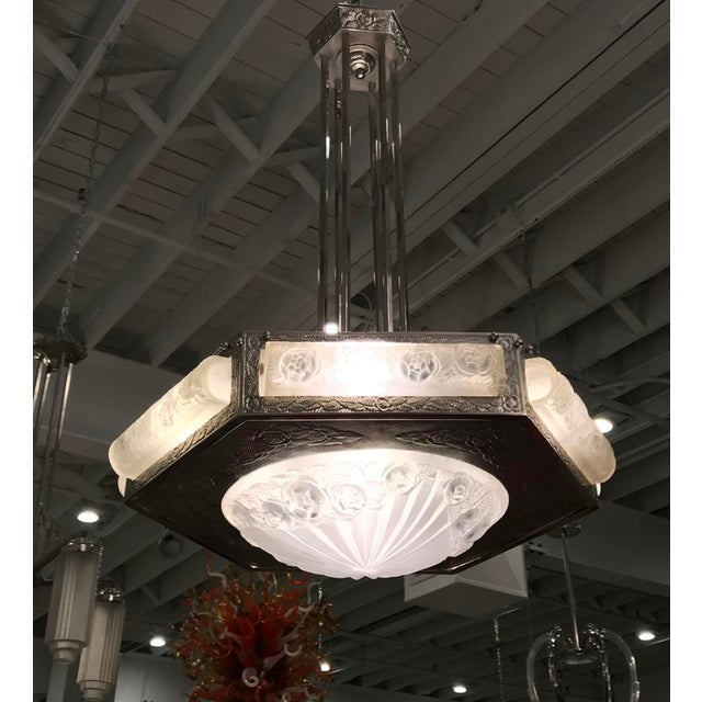 French Art Deco Floral Chandelier Signed by Degue For Sale - Image 10 of 13