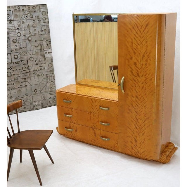 French Art Deco Chifforobe Dresser With Mirror Closet Cabinet Tiger Maple For Sale - Image 12 of 13