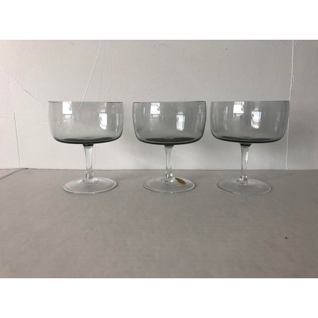 """Midcentury Set of three Smoky short champagne glasses or sherbet glasses, Makers mark reads """" Crown Royal Bohemian Crystal..."""