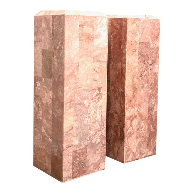 Vintage Tessellated Regency Marble Pedestals - a Pair For Sale