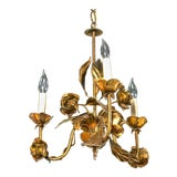 Image of 1950s Italian Gilt Iron Floral Chandelier For Sale