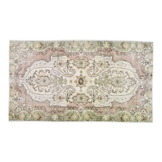 "Vintage Turkish Anatolian Hand Knotted Whitewash Organic Wool Fine Weave Rug,5'4""x9'5"" For Sale"