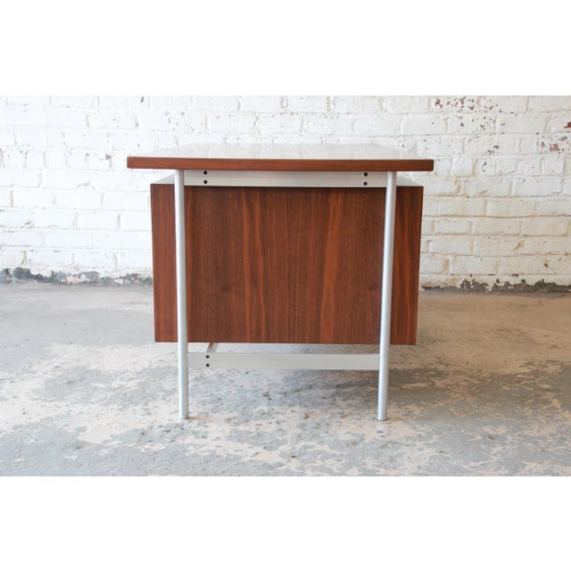 Jens Risom Mid-Century Modern Executive Desk in Walnut, Cane, and Steel For Sale - Image 11 of 13