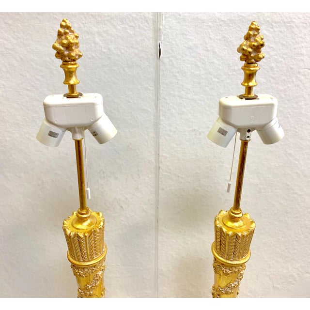 1950s 1950s Vintage French Empire Gold Dore Marble Table Lamps- a Pair For Sale - Image 5 of 11