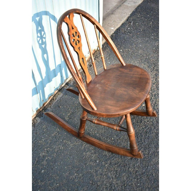 Rustic Antique Primitive Windsor Style Child's Rocker Rocking Chair For Sale - Image 3 of 7
