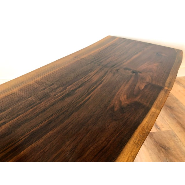 Wood Modern Raw Edge Slab Coffee Table With Hair Pin Legs For Sale - Image 7 of 11