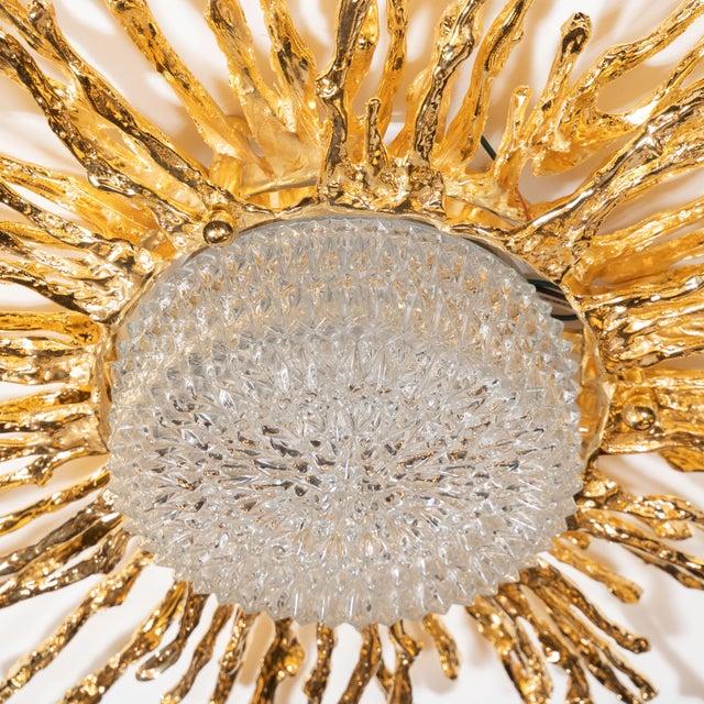 Vintage Claude Boeltz Exploded Bronze and 24-Karat Gold Sunburst Flush Mount Chandelier For Sale In New York - Image 6 of 12