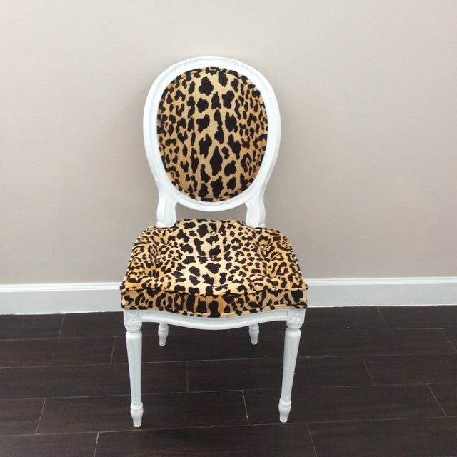 Cotton Leopard Fabric Louis XVI Round Back Side Chair For Sale - Image 7 of 7