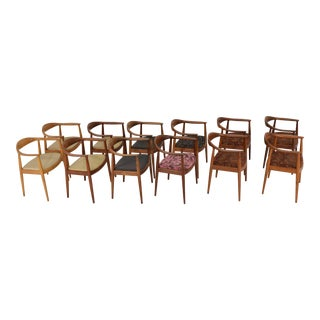 Hans Wegner Round Teak Dining Chairs - a Pair (8 Available) For Sale
