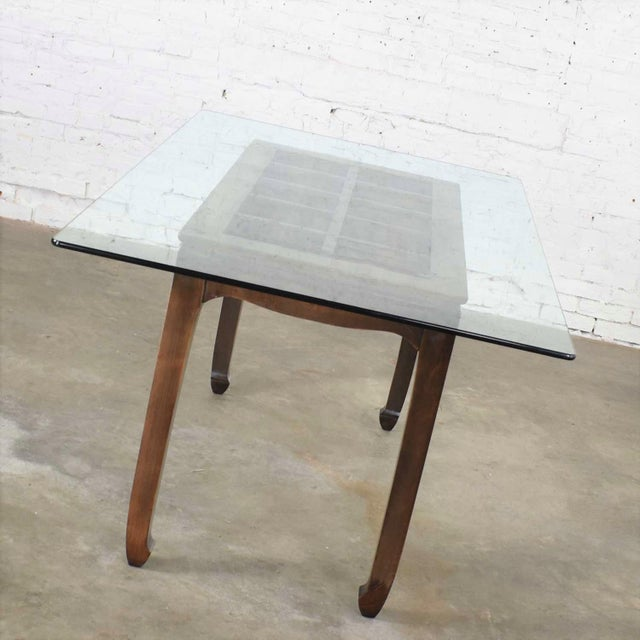 Brown Vintage Chinoiserie Chow Leg Glass Top Dining Table Walnut Color Finish For Sale - Image 8 of 13