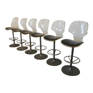 Mid-Century Modern Lucite Barstools- Set of 6 For Sale