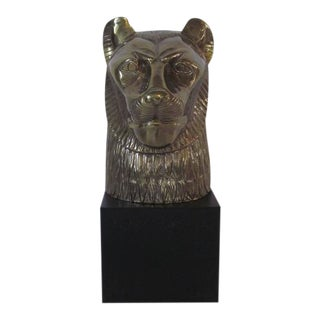 Chapman Brass Cat or Lion Head Sculpture For Sale