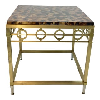 Ferguson Copeland Penshell and Brass Side Table For Sale