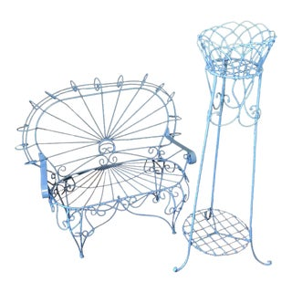 Blue Wire-Woven Plant Stands - A Pair For Sale