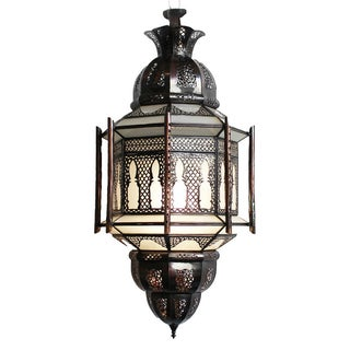 Moroccan Bronze & Frosted Glass Lantern