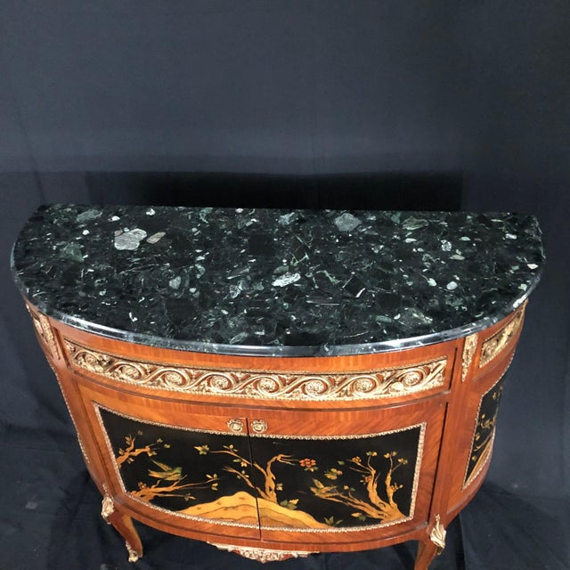 Metal French Louis XV Style Inlaid Demilune Buffet Cabinet Credenza For Sale - Image 7 of 13