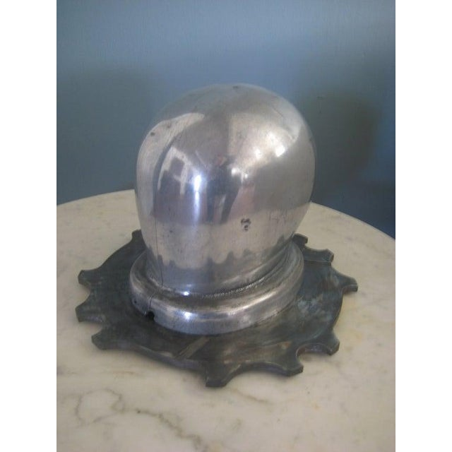 Metal 1930s Vintage Art Deco Period Aluminum Head Form on Dragster Clutch Plate Base Sculptural Piece For Sale - Image 7 of 7